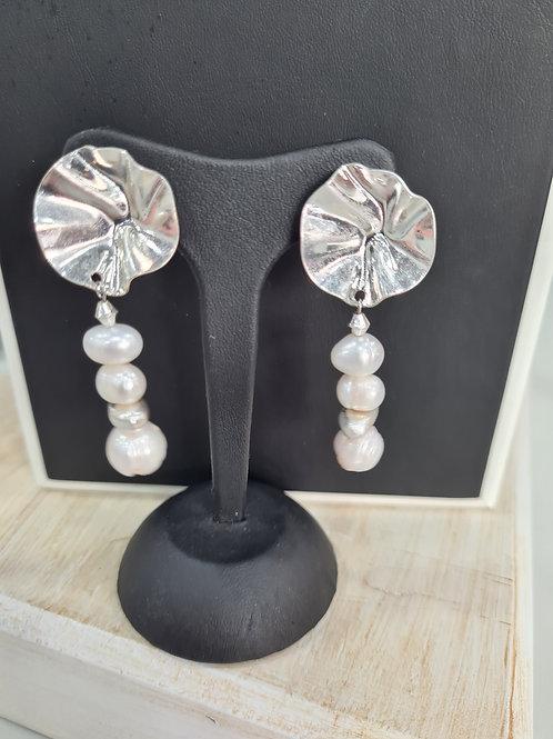 Pendiente baño plata perla cultivada