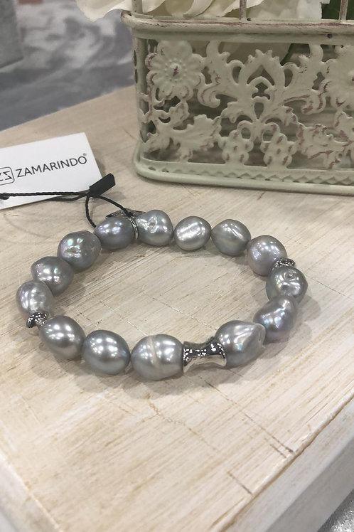 Pulsera perla gris elástica