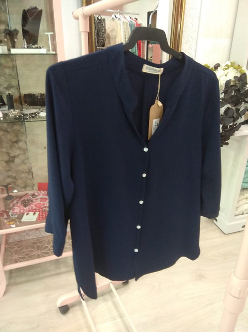 Blusa botones azul marino
