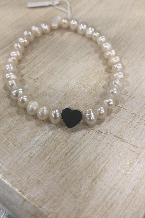 Pulsera perlas elástica corazón acero