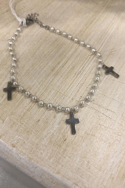 Pulsera perlas cruces acero