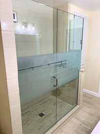 Frosted Privacy Stripe Shower
