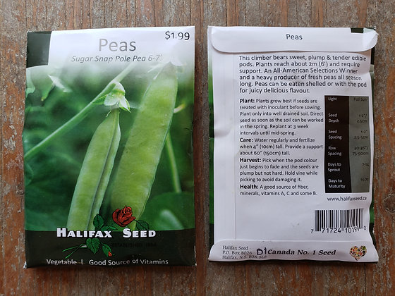 Peas - Sugar Snap Pole Pea 6-7'