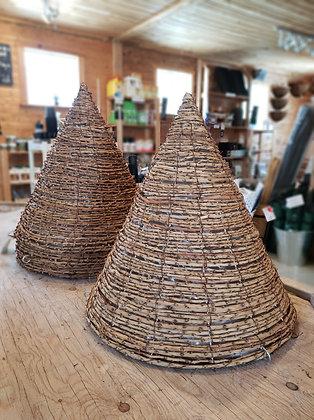 "Cone rattan hanging basket 16"""