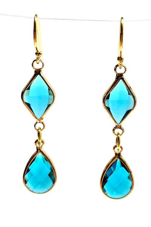 Teal Double Drop Faceted Glass Earrings