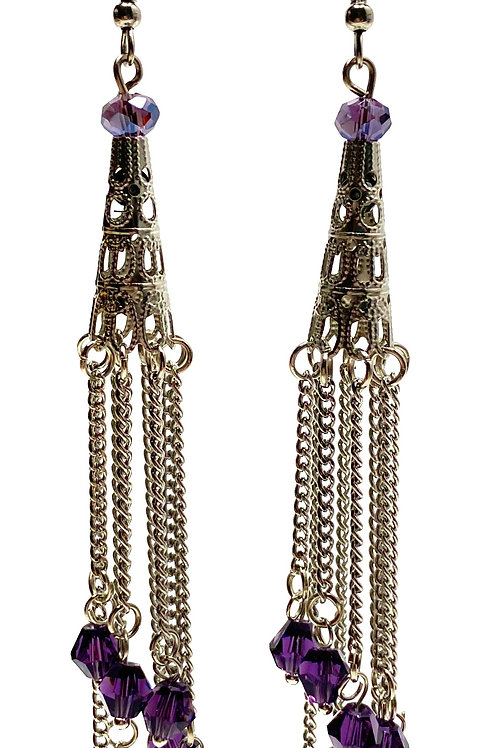 Chain Tower Drop Earrings -Purple