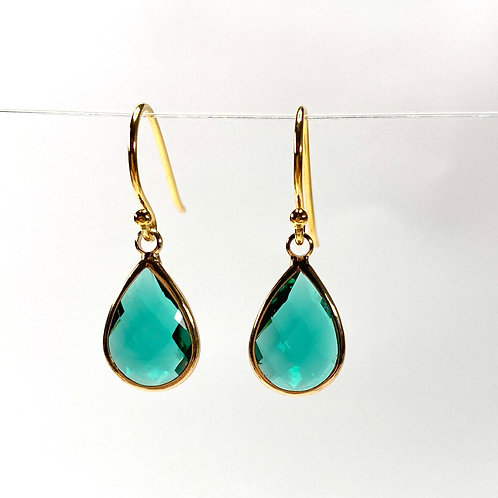 Green Faceted Glass Teardrop Earrings