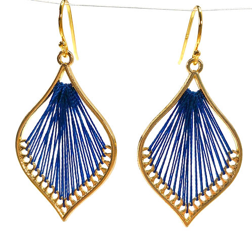 Navy Blue Silk Thread Leaf Drop Earrings