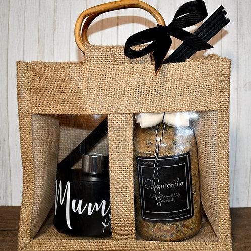 Matt Black Botanical Bath & Diffuser Mum Gift Bag