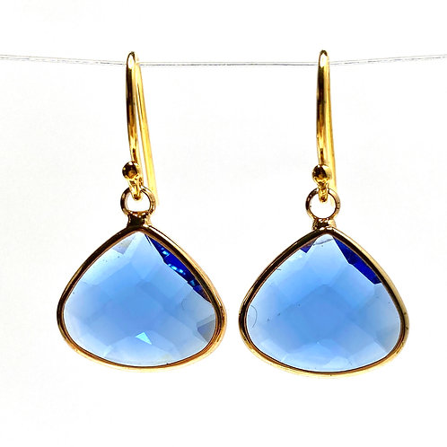 Blue Faceted Glass Triangular  Earrings