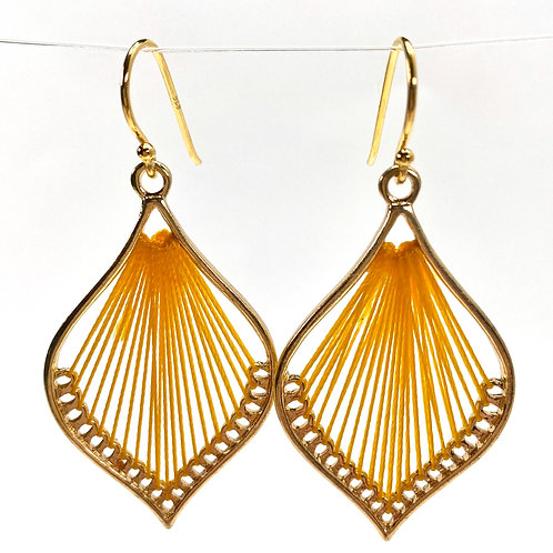 Yellow Silk Thread Leaf Drop Earrings
