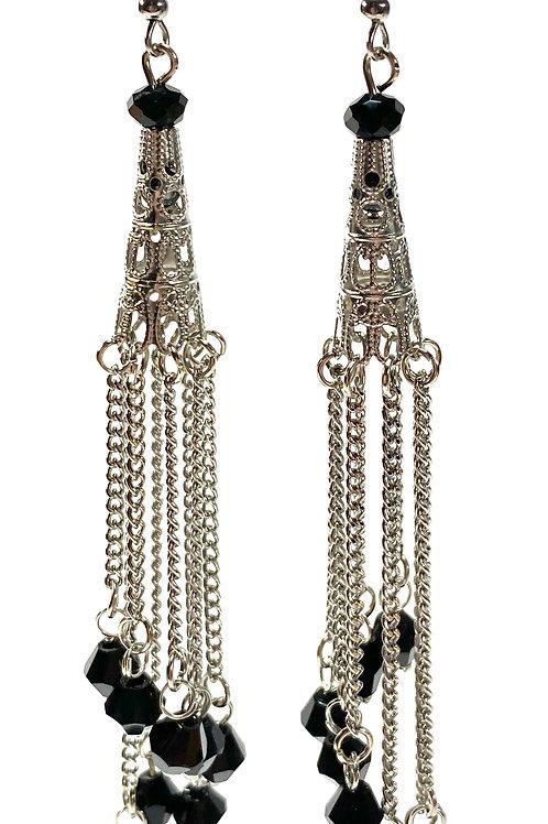 Chain Tower Drop Earrings - Black