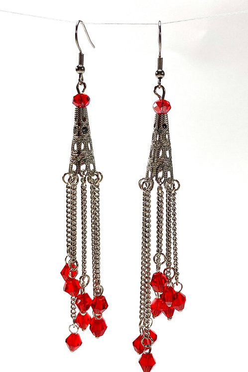 Chain Tower Drop Earrings - Red