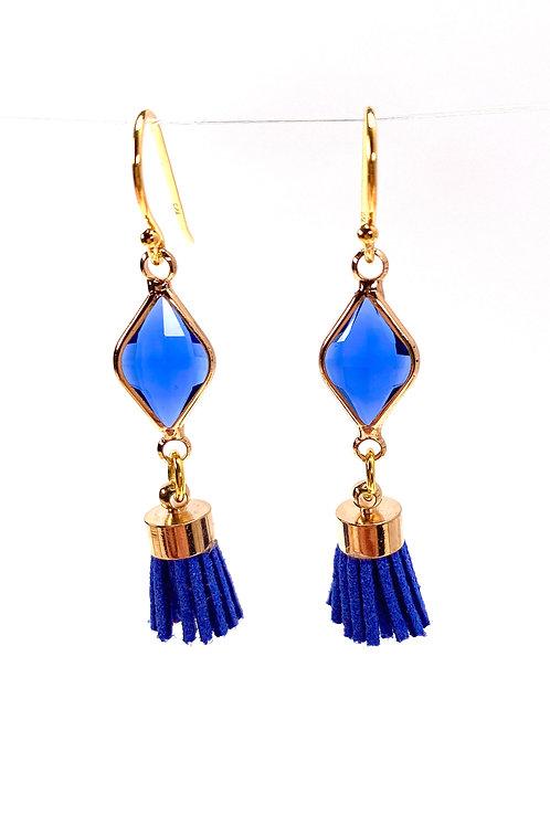 Blue Tassel Drop Faceted Glass Earrings