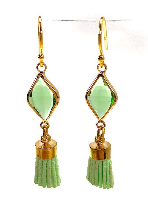 Green Tassel Drop Faceted Glass Earrings
