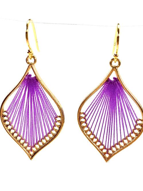 Purple Silk Thread Leaf Drop Earrings
