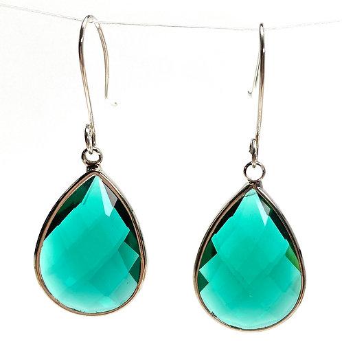Bold Emerald Green Faceted Glass Teardrop Earrings