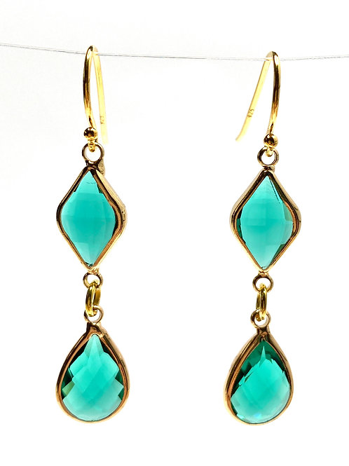 Green Double Drop Faceted Glass Earrings