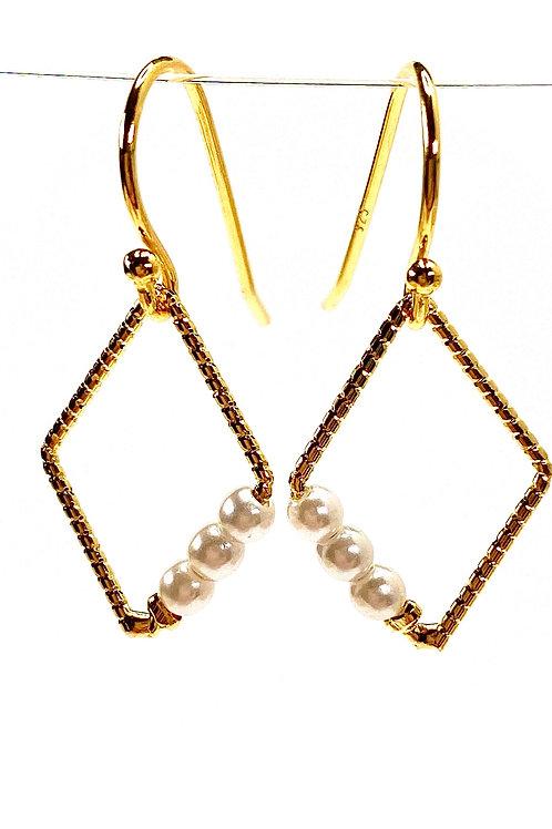 Diamond Drop Faux Pearl Earrings