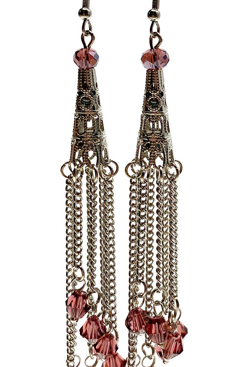 Chain Tower Drop Earrings -Blush