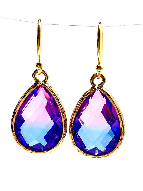 Ombre Blue/Pink Faceted Glass Drop Earrings