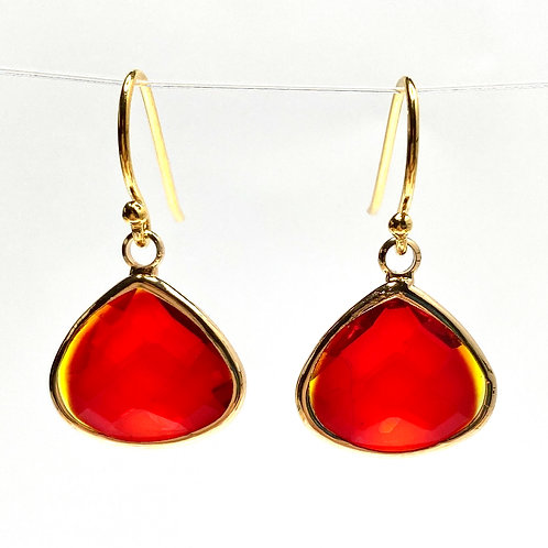 Red Faceted Glass Triangular  Earrings