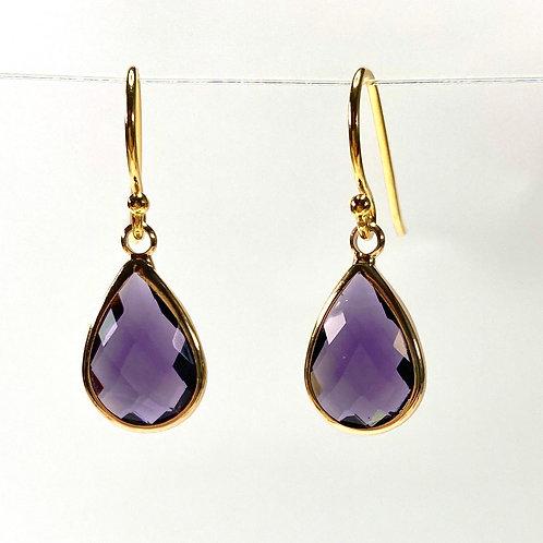 Amethyst Faceted Glass Teardrop Earrings