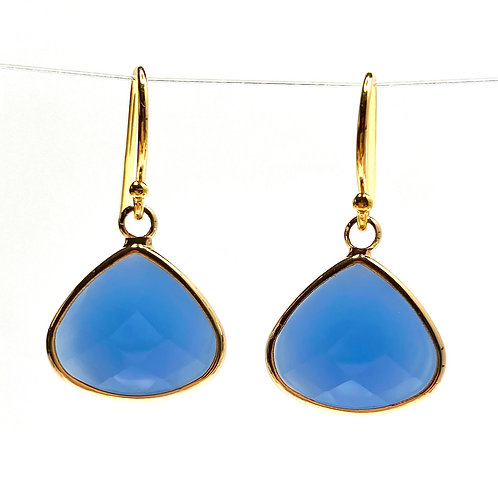Opaque Blue Faceted Glass Triangular  Earrings