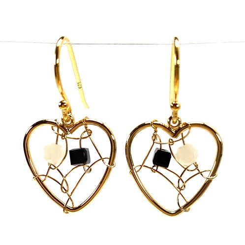 Delicate Wired Heart Drop Earrings - Deep Sapphire Blue