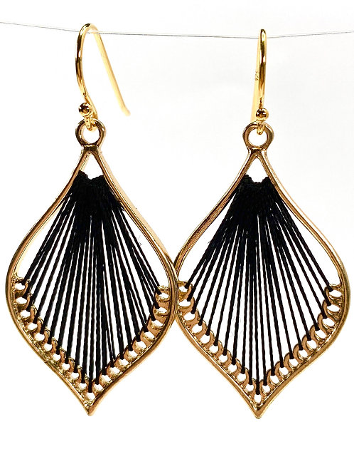 Black Silk Thread Leaf Drop Earrings