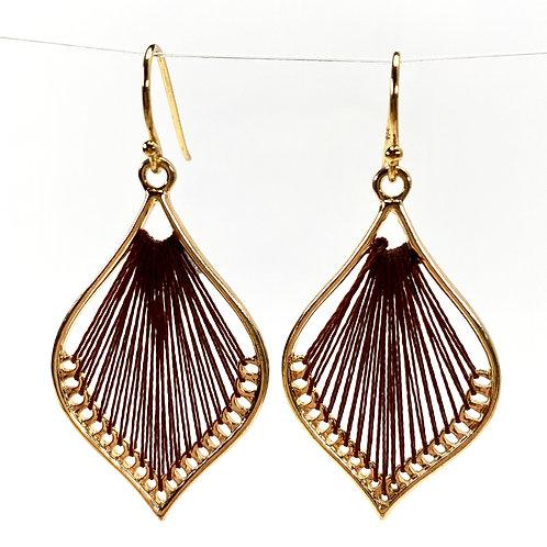 Coffee Silk Thread Leaf Drop Earrings