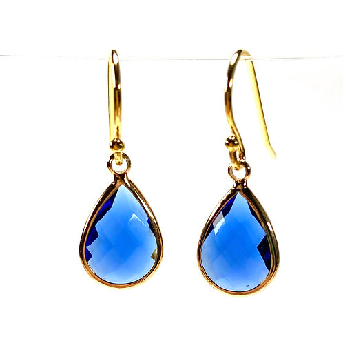 Blue Faceted Glass Teardrop Earrings
