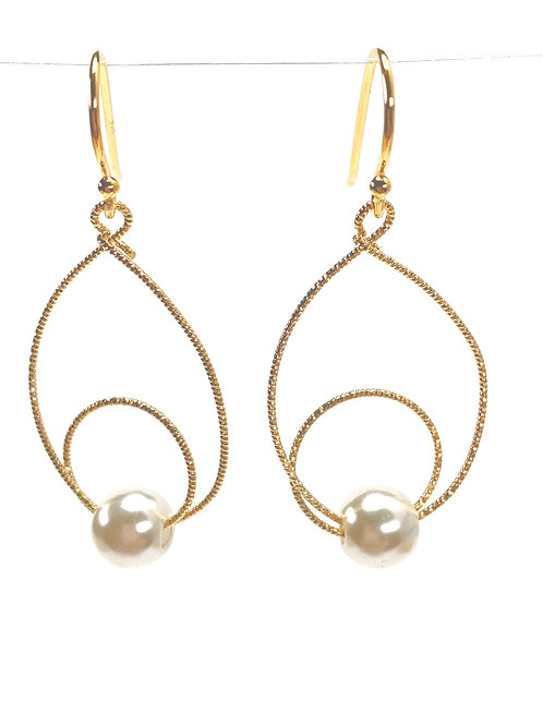 Twisted Circles Faux Pearl Earrings