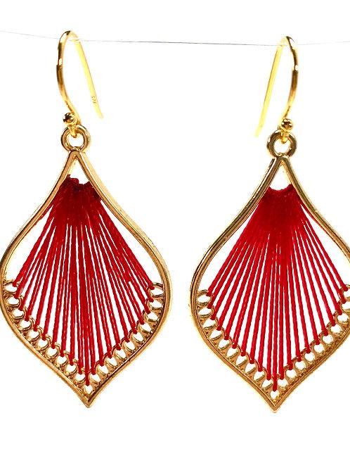 Red Silk Thread Leaf Drop Earrings