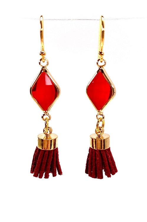 Red Tassel Drop Faceted Glass Earrings