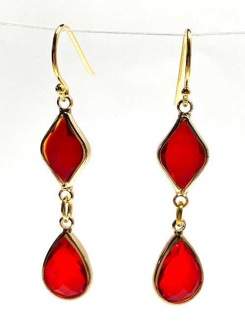Red Double Drop Faceted Glass Earrings