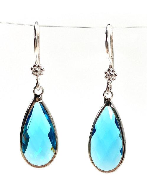 Elongated Blue Faceted Glass Teardrop Earrings