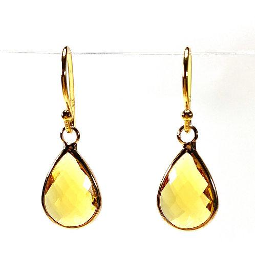 Yellow Faceted Glass Teardrop Earrings