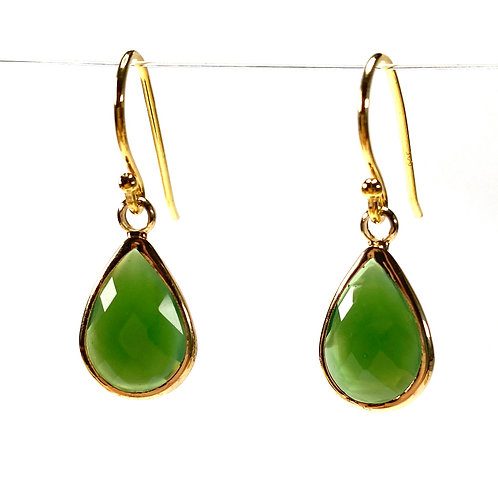Opaque Frosted Green Faceted Glass Teardrop Earrings