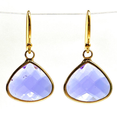 Lavender  Faceted Glass Triangular  Earrings