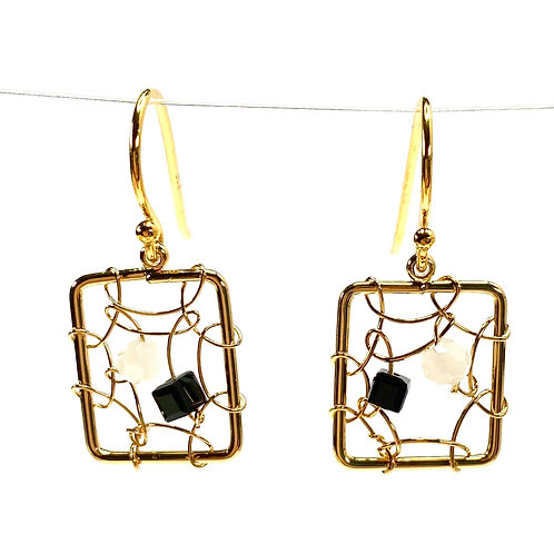 copy of Delicate Wired Square Drop Earrings - Deep Sapphire Blue