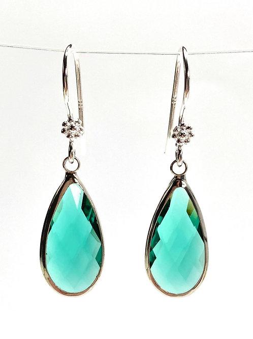 Elongated Green Faceted Glass Teardrop Earrings