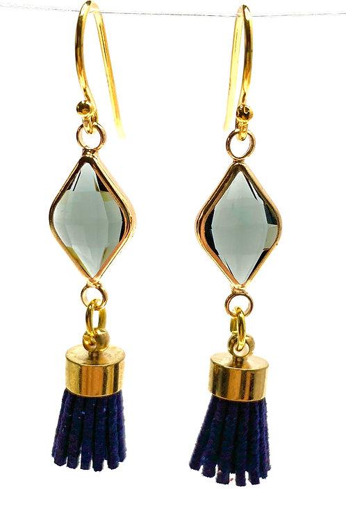 Grey & Navy Tassel Drop Faceted Glass Earrings