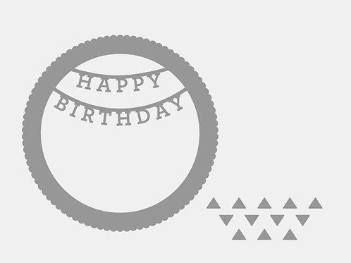 Happy Birthday Shaker Window Thin Cuts
