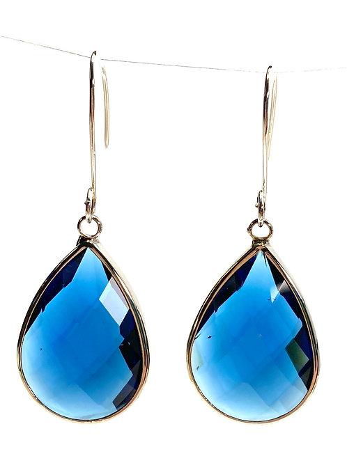 Bold Sapphire Faceted Glass Teardrop Earrings