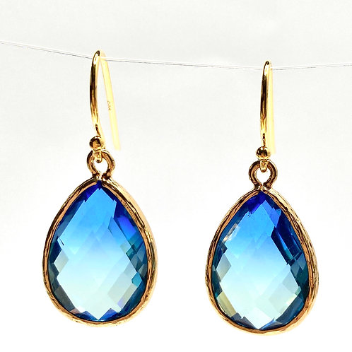 Ombre Blue Faceted Glass Drop Earrings