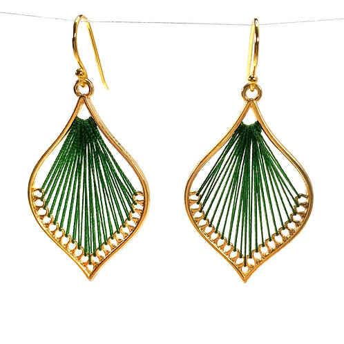 Deep Green Silk Thread Leaf Drop Earrings