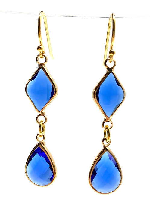 Blue Double Drop Faceted Glass Earrings
