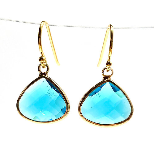 Teal Faceted Glass Triangular  Earrings