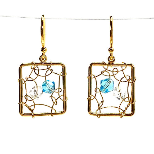 Delicate Wired Square Drop Earrings - Light Topaz Blue